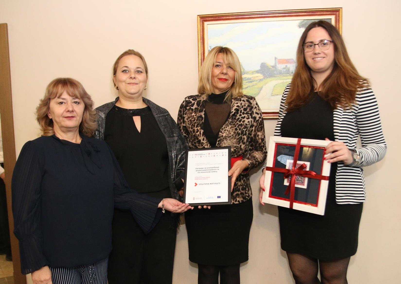 Opštini Žitište nagrada za unapređenje rodne ravnopravnosti